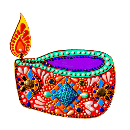 original painting with jewels and pearls of diwali lantern diya, oil candle isolated on white  for Indian festival, illustration Illustration