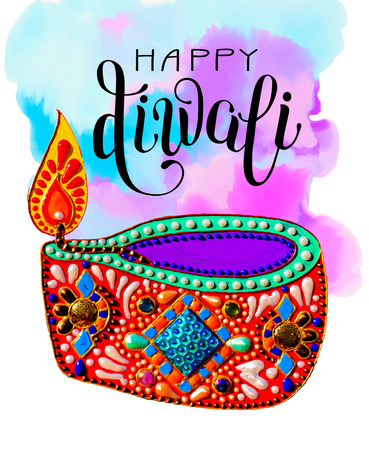 original greeting card to deepavali festival with diya jewels painting and lettering inscription happy diwali on watercolor background, calligraphy illustration