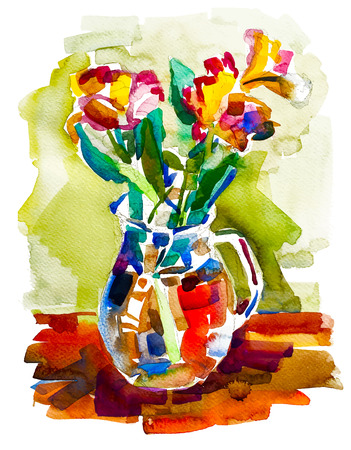 autumn flowers: watercolor painting of autumn flowers bouquet in vase, vector illustration Illustration