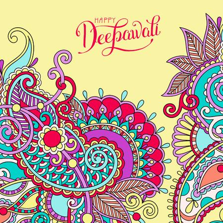 Happy Deepawali greeting card with hand written inscription to indian light community diwali festival, vector illustration Illustration