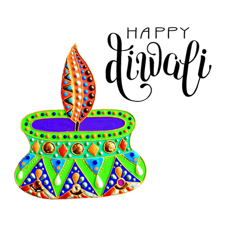 dipawali: original greeting card to deepavali festival with diya jewels painting and hand lettering inscription happy diwali, calligraphy vector illustration