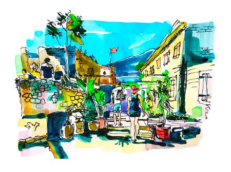 watercolor sketching of Budva Montenegro old fortress landscape, travel drawing vector illustration Illustration