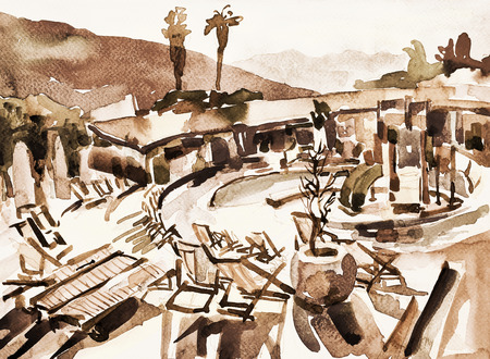 ink sketch: watercolor sketch drawing of swimming pool landscape in Budva Montenegro, touristic traveling card, handmade ink painting illustration