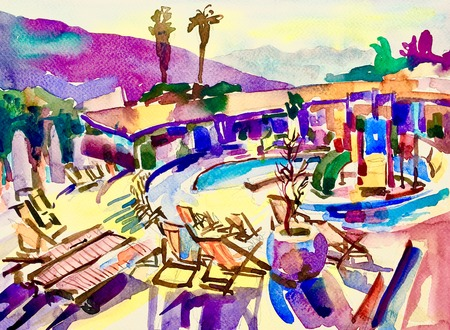 touristic: watercolor sketch drawing of swimming pool landscape in Budva Montenegro, touristic traveling card, handmade ink painting illustration
