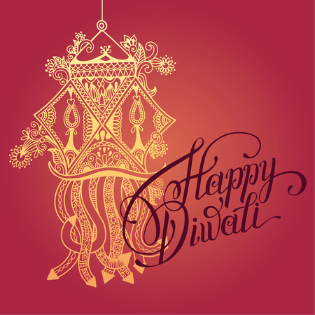 deepawali backdrop: Happy Diwali greeting card with paisley ornamental candle and hand written inscription to indian light community festival, vector illustration