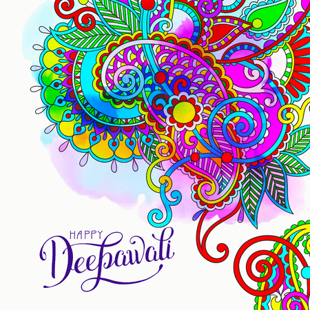 Happy Deepawali watercolor greeting card to indian fire festival diwali with hand lettering inscription, vector illustration