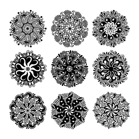 black and white circle lace pattern collection, christmas design snowflake set, ethnic background vector illustration Illustration