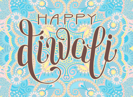 Happy diwali greeting card with hand written inscription to indian happy diwali greeting card with hand written inscription to indian light community festival vector illustration m4hsunfo