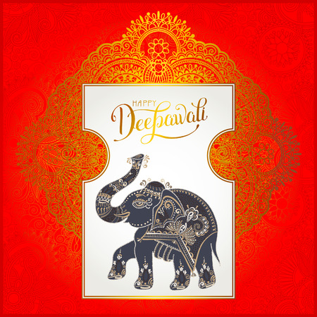 deepawali backdrop: Happy Deepawali greeting card with hand written inscription and elephant to indian light community diwali festival, vector illustration