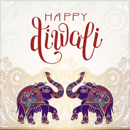 dipawali: Happy Diwali gold greeting card with hand written inscription and two elephants to indian light community festival, vector illustration Illustration