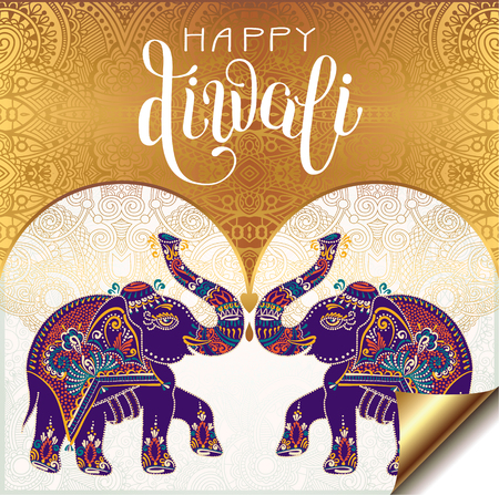 Happy Diwali gold greeting card with hand written inscription and two elephants to indian light community festival, vector illustration Illustration