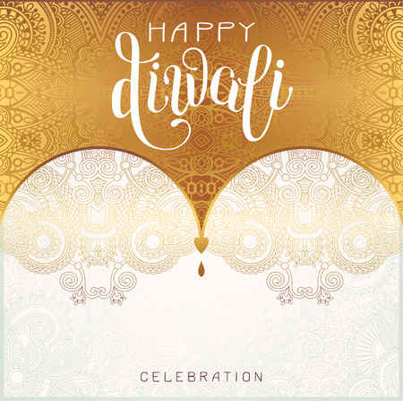 deepawali backdrop: Happy Diwali gold greeting card with hand written inscription to indian light community festival, vector illustration Illustration