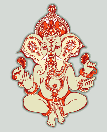 om sign: hindu lord ganesha ornate sketch drawing, tattoo, yoga, spirituality symbol, vector illustration Illustration