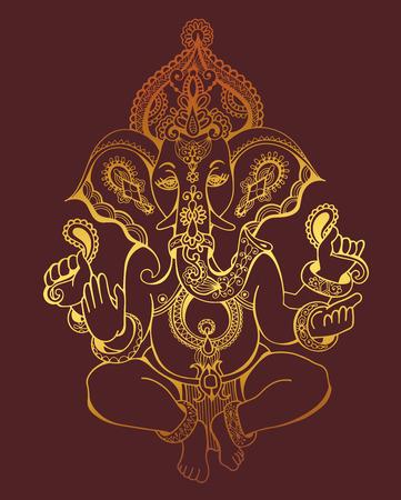 ganesh: hindú Ganesha de oro adornado dibujo de bosquejo, tatuaje, yoga, símbolo de la espiritualidad, ilustración vectorial Vectores