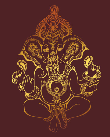 hindu lord ganesha ornate gold sketch drawing, tattoo, yoga, spirituality symbol, vector illustration