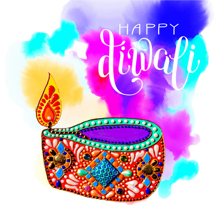 original greeting card to deepavali festival with diya jewels painting and hand lettering inscription happy diwali on watercolor background, calligraphy vector illustration Illustration