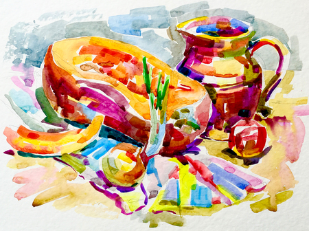 etude: sketch watercolor painting still life artwork with pumpkin, jug, apple and onion, aquarelle fine art illustration