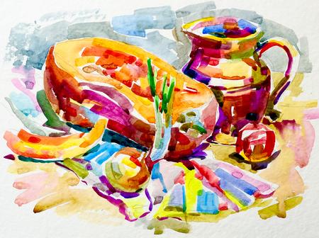 fine art: sketch watercolor painting still life artwork with pumpkin, jug, apple and onion, aquarelle fine art illustration