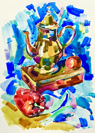 blue watercolor painting still life with jug, pepper, apple and box, aquarelle sketch illustration
