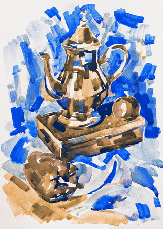 aquarelle: blue watercolor painting still life with jug, pepper, apple and box, aquarelle sketch illustration
