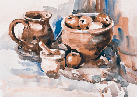 still life: watercolor painting of still life with vintage tableware, apples, jug, mill and bowl, aquarelle sketch illustration Stock Photo
