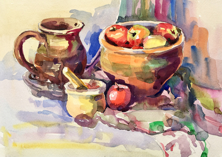 watercolor painting of still life with vintage tableware, apples, jug, mill and bowl, aquarelle sketch illustration Standard-Bild