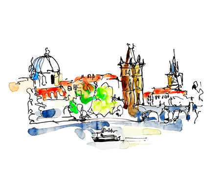 on top of the world: watercolor freehand sketch drawing of Prague Czech Republic top landscape to travel book or poster, aquarelle painting vector illustration