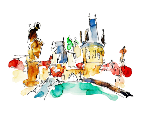 famous painting: watercolor freehand sketch drawing of Prague Czech Republic top landscape to travel book or poster, aquarelle painting vector illustration
