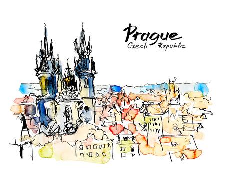 dibujos lineales: acuarela dibujo boceto a mano alzada de Praga República Checa superior al paisaje libro o un cartel, pintura acuarela ilustración vectorial viajar