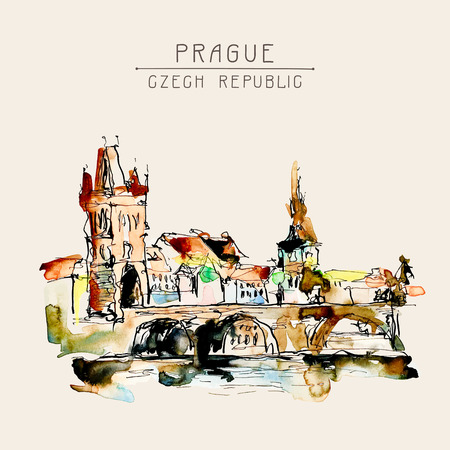 sketch book: watercolor freehand sketch drawing of Prague Czech Republic top landscape to travel book or poster, aquarelle painting vector illustration