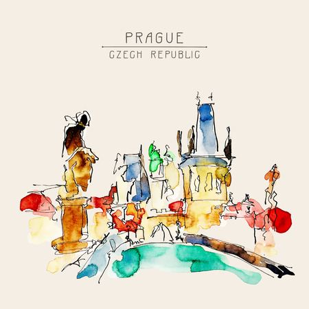 czech: watercolor freehand sketch drawing of Prague Czech Republic top landscape to travel book or poster, aquarelle painting vector illustration