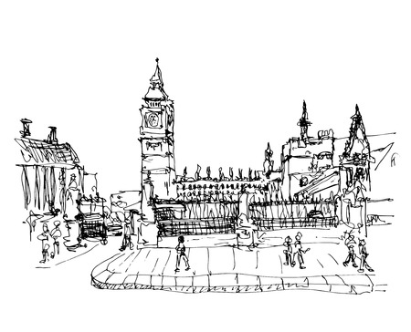 houses of parliament   london: black and white ink sketch drawing of famous place in London,  Big Ben and Houses of Parliament or Clock Tower, Westminster, vector illustration Illustration