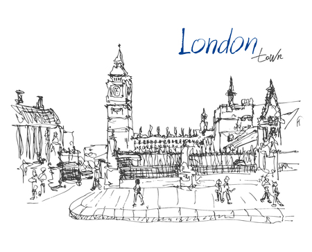 houses of parliament   london: ink sketch drawing of famous place in London with hand lettering inscription, Big Ben and Houses of Parliament or Clock Tower, Westminster, vector illustration Illustration
