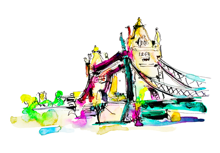 Watercolor sketch painting of The Tower Bridge in London town, British travel vector illustration