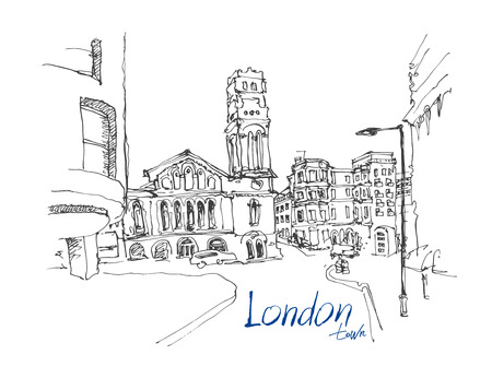 ink sketch: ink sketch drawing of famous place in London with hand lettering inscription, vector illustration