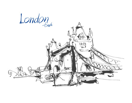 drawbridge: ink sketch drawing of famous place Tower Bridge in London with hand lettering inscription, vector illustration Illustration