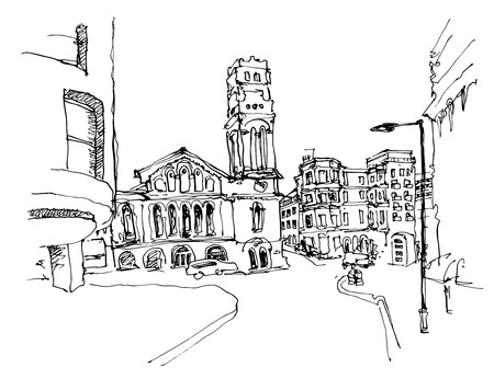 sketch drawing: black and white ink sketch drawing of famous place in London, vector illustration Illustration