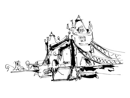 river thames: black and white ink sketch drawing of famous place Tower Bridge in London, vector illustration