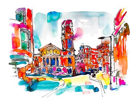 ilustración vectorial colorido de viajes acuarela dibujo de la calle de Londres con la iglesia, brillante mano dibujada Ilustración de vector