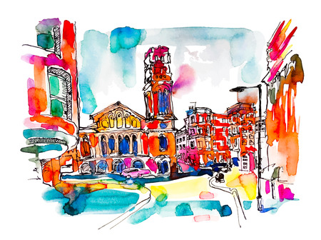 sketch watercolor painting of London street with church, bright hand drawn colorful travel vector illustration