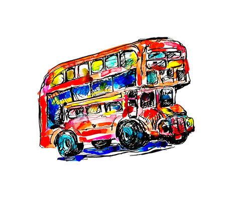 doodle watercolor sketch painting of London symbol - red bus, vector illustration