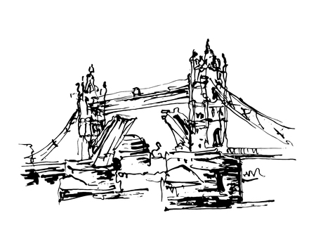 black and white ink sketch drawing of famous place Tower Bridge in London, vector illustration
