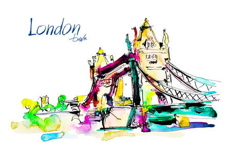 london tower bridge: Watercolor sketch painting of The Tower Bridge in London town with hand lettering inscription, British travel vector illustration