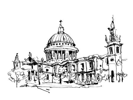 saint pauls cathedral: sketch black and white ink drawing of London top view - St. Paul Cathedral, vector illustration Illustration