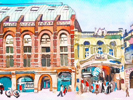 watercolor painting poster of Piccadilly street of London, sketch art illustration