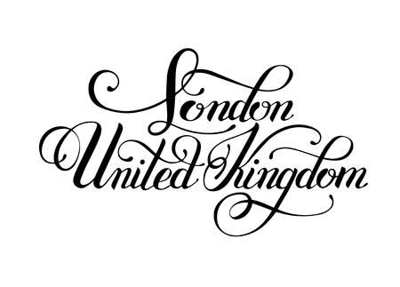 britan: black ink hand lettering inscription London United Kingdom for postcard, poster, brand, identity, isolated on white background, modern calligraphy vector illustration Illustration