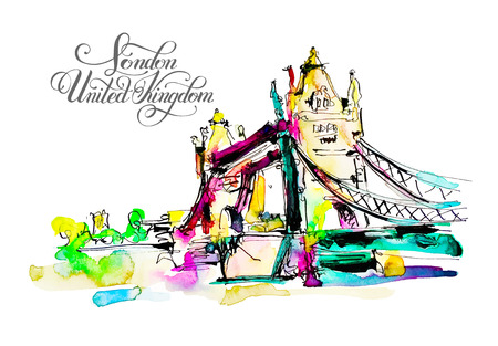 Watercolor sketch painting of The Tower Bridge in London United Kingdom with hand lettering inscription, British travel vector illustration Illustration
