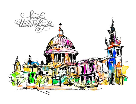 paul: sketch watercolor painting of London top view - St. Paul Cathedral, vector illustration