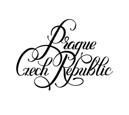 czech: black ink hand lettering inscription Prague Czech Republic isolated on white background, capital city typography design, modern calligraphy vector illustration