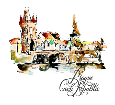 sketch book: watercolor freehand sketch drawing of Prague Czech Republic top landscape with calligraphy lettering to travel book or poster, aquarelle painting vector illustration
